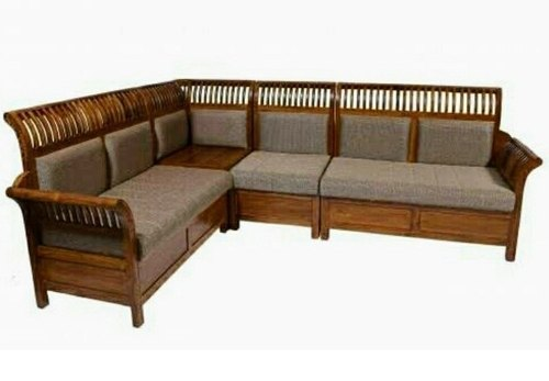 Wooden European Kerala Teak Wood Corner, Teak Wood Corner Sofa Set Designs Pictures