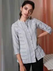 Janasya Women's White Weaved Cotton Top(J0122)