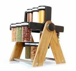 Multipurpose Plastic & Wooden Wheel Spice Rack 12 Jar