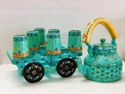 Hand Painted Kettle With Glasses In Trolley