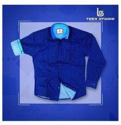 Teen Studio Cotton Mens Trendy Check Shirt, Machine wash