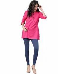 Jaipur Kurti Women Navy Blue Solid Cotton Lycra Leggings