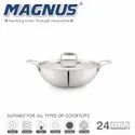 Magnus Triply Induction Kadai With SS Lid, 280mm, Silver, Steel - Aluminum - Steel, 4.2 litre