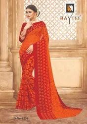 Haytee Casual Wear Printed Georgette Saree, 6.3 m (with blouse piece)