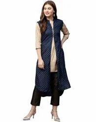 Jaipur Kurti Women Blue Ethnic Motifs Straight Rayon Shrug