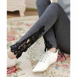 Gray,Black Ladies Lycra Embroidered Legging, Size: XXXL