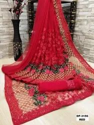 PRESENT HEAVY QUALITY NET WITH HEAVY EMBRODEIRY SAREE