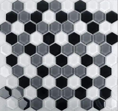 Hexagon Shape Glass Mosaic Tile