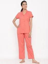 Jaipur Kurti Women Coral Yarn Dyed Night Suit