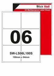 A4 LABEL SHEET LS06L ( 100mm X 94mm ) STICKWELL