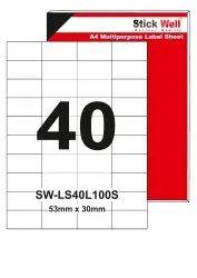 A4 LABEL SHEET LS40L ( 53mm X 30mm ) STICKWELL