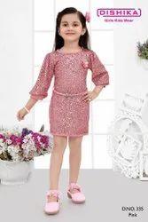 Pink Girl Stylish Sequin Western Dress