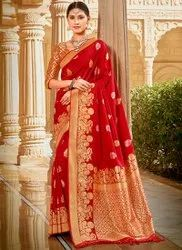 Party Wear Border Women Sarees, 6 m (with blouse piece)