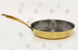 Goldish Brass Frying Pan Export Quality, Round, Capacity: 2 Litre Approx