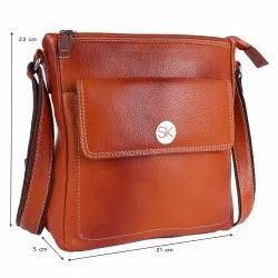 TAN Mens Leather Side Bag, For Casual, Size: 8.5