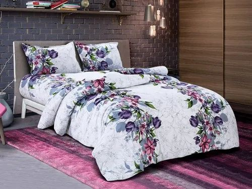 Little India Purple On White Base Twill, 100 Cotton Queen Bed Sheet Set