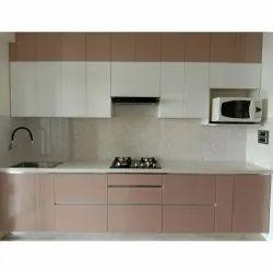 Italian Modular Acrylic Kitchen, Work Provided: Wood Work & Furniture