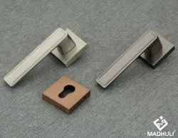 Modern Smooth Door Mortise Handles With Squared Rosette For Interior Door-59