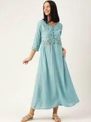 Jaipur Kurti Women Aqua Embroidered Flared Cotton Silk Dresses