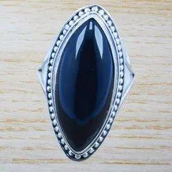 Royal 925 Sterling Solid Silver Black Onyx Gemstone Ring