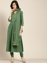 Jaipur Kurti Olive Green Embroidered Anarkali With Churidar and Dupatta