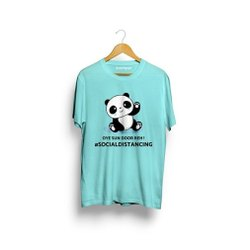 Half Sleeves Mens Sky Blue Panda Printed Cotton T Shirt