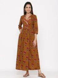Jaipur Kurti Women Brown Floral Flared Cotton Dress