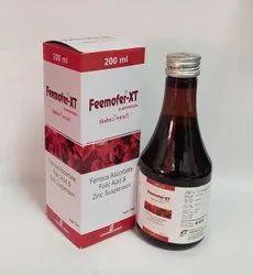 Feemofer-XT Ferrous Ascorbate Folic Acid & Zinc Suspension, Packaging Size: 200 Ml