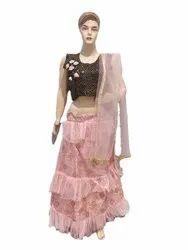 Arihant Fashion Silk Black Pink Crepe Satin Partywear Crop Top lehenga, Wash Care: Handwash
