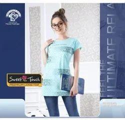 Ladies Half Sleeves Printed Cotton Long Top