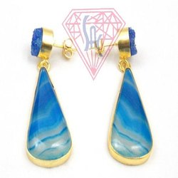 Blue Agate and Blue Druzy  Gemstone Stud Earring with Gold Plated
