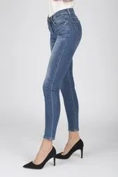 Skinny Blue Ladies Toned Legs Denim Jeans, Waist Size: 28