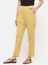 Jaipur Kurti Women Beige Solid Cotton Slub Pants