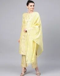 Jaipur Kurti Lime Embroidered Straight Handloom Kurta With Palazzo And Dupatta