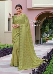 Formal Wear Pista 13487- Foil Brasso Works Saree With Blouse, 1 Pic, Machine Made