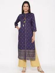 Jaipur Kurti Women Blue Gold Print Straight Viscose Rayon Kurta With Palazzo