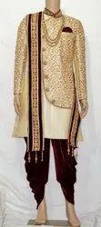 Golden Wedding Wear mens groom sherwani