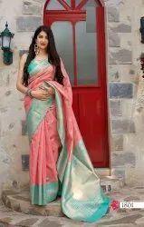 ANK Enterprise 6.3 m (with blouse piece) Banarasi Weaving Silk Sarees