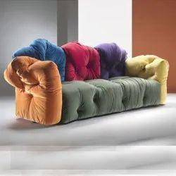Wooden Modern Designer 3 Seater Velvet Sofa, Living Room, Size: 4.5 Feet (length)