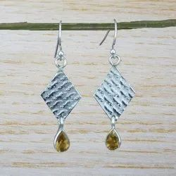 925 Sterling Silver Citrine Gemstone Earring WE-2657