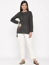 Jaipur Kurti Women Black Embroidered Straight Cotton Top