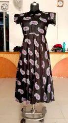 Black Printed Jaipuri Dress, Handwash, Size: Free Size