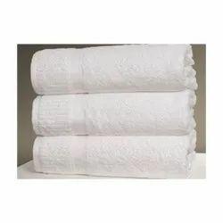 Plain Zuukra White Cotton Terry Towel, For Bathroom, 250-350 GSM
