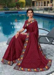 13486- Brasso Lining Lace Work Saree By Subhash Brand
