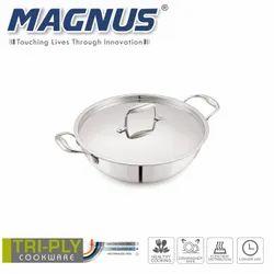 Magnus Triply Induction Kadai With SS Lid, 220mm, Steel - Aluminum - Steel, 2.2 litre