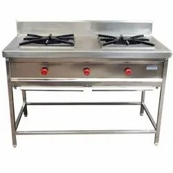 Silver Double Burner Gas Stove, For Kitchen