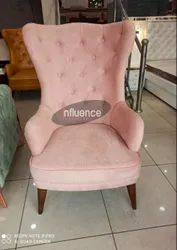 Pink Fabric Influence Furniture Wing Chair, Size: 4'