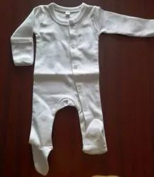 Cotton White Organic Baby Romper with Foot