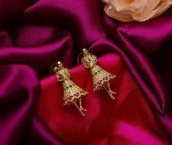 Artificial Diamonds Party Wear Dancing Doll Earrings, 40 Gm