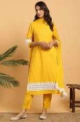 Janasya Women''s Mustard Cotton Flex Kurta With Pant And Dupatta(J0162)